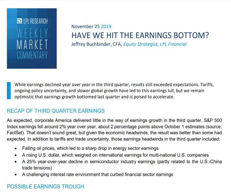Have We Hit the Earnings Bottom? | Weekly Market Commentary | November 25, 2019